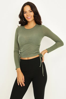 CEDAR GREEN RIBBED RUCHED SIDE TOP