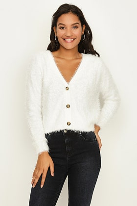 IVORY FLUFFY CROP CARDIGAN WITH BUTTON
