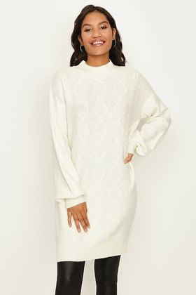 IVORY CABLE FRONT DROP SHOULDER TUNIC