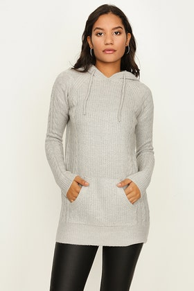 GREY CABLE FRONT HOODED TUNIC