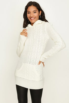 IVORY HALF&HALF HOODED TUNIC WITH CABLE
