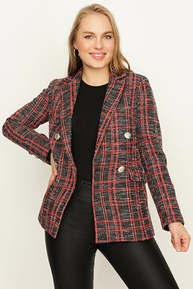 RED CHECK BOUCLE DOUBLE BREASTED JACKET