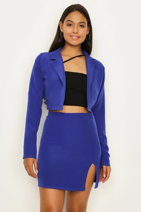 ELECTRIC BLUE CO-ORD CROP JACKET