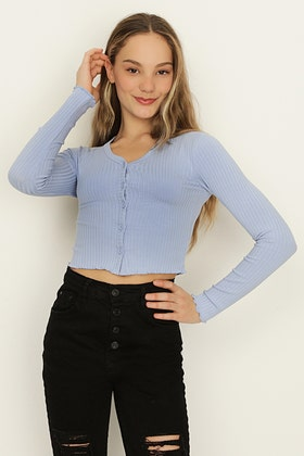 GIRLS PALE BLUE BUTTON FRONT LONG SLEEVE RIB TOP