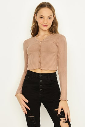 GIRLS WARM TAUPE BUTTON FRONT LONG SLEEVE RIB TOP