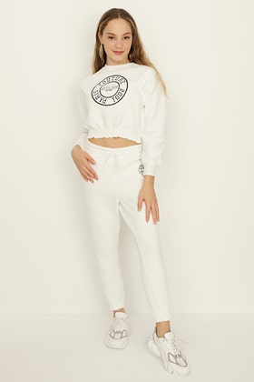 GIRLS IVORY QUILTED JOGGERS
