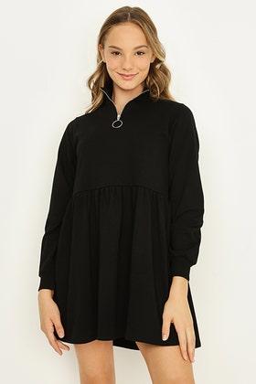 BLACK GIRLS ZIP FRONT SMOCK DRESS