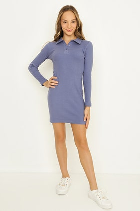 GIRLS INFINITY BLUE LONG SLEEVE POLO DRESS WITH BUTTONS