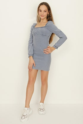 GIRLS BLUE DENIM LOOK JERSEY MILKMAID DRESS