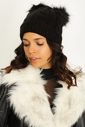 BLACK CABLE & WIDE RIB DOUBLE POM BEANIE