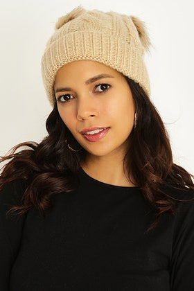 CAMEL CABLE & WIDE RIB DOUBLE POM BEANIE