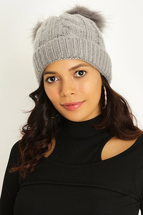 GREY CABLE & WIDE RIB DOUBLE POM BEANIE