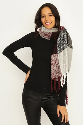 CHERRY LARGE CHECK TEXTURE SCARF