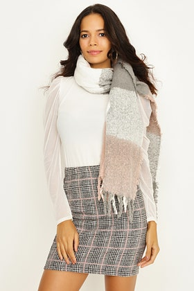 NUDE LARGE CHECK TEXTURE SCARF