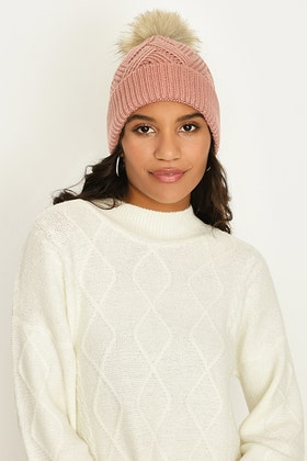 NUDE CABLE KNIT SINGLE POM BEANIE