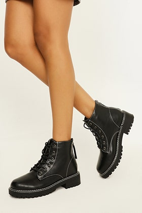 BLACK ALL OVER CONTRAST STITCH LACE UP ANKLE BOOT