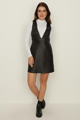 BLACK 2 IN 1 PU PINNY DRESS