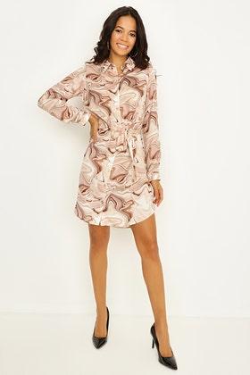 MULTI MARBLE PRINT SATIN SHIRT DRESS