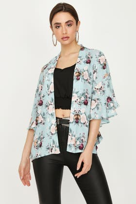 SAGE FLORAL FRILL SLEEVE SOFT EDGE TO EDGE JACKET