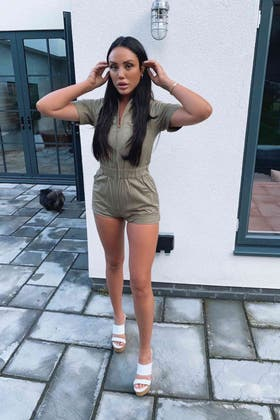 SAGE GREEN ZIP FRONT UTILITY PLAYSUIT