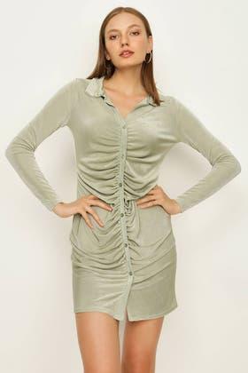 SAGE RUCHING DETAIL SHIRT DRESS