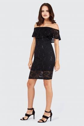 BLACK SEQUIN LACE BARDOT DRESS