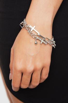 SILVER 2pc Cross Ball Bracelets