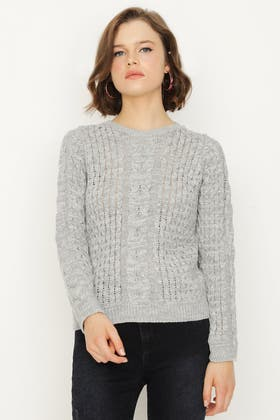 SILVER-GREY CABLE AND HONEYCOMB STITCH JUMPER