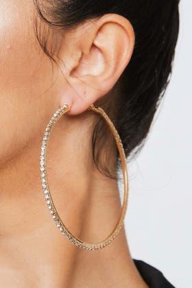 SILVER Rhinestone Diamante Hoop Earrings