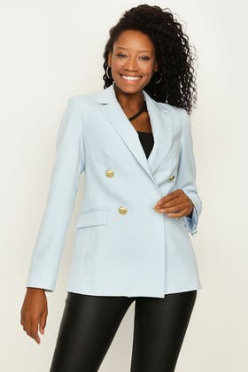 SKY BLUE DOUBLE BREASTED GOLD BUTTON JACKET