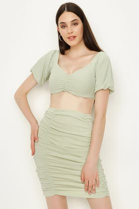 SMOKE GREEN RUCHED FRONT PUFF SLEEVE CO-ORD TOP