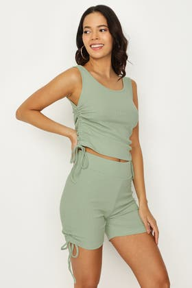 SMOKE GREEN RUCHED SIDE VEST & CYCLING SHORT SET