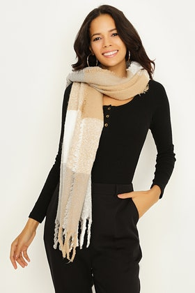 NATURAL LARGE CHECK TEXTURE SCARF