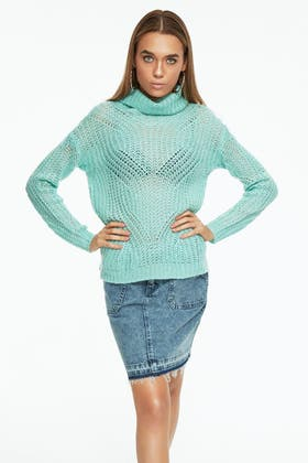 SPEARE MINT BRUSHED CABLE STITCH ROLLNECK JUMPER
