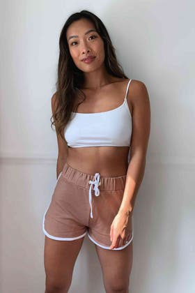 SPICE-WHITE DOUBLE SIDE STRIPE SHORTS