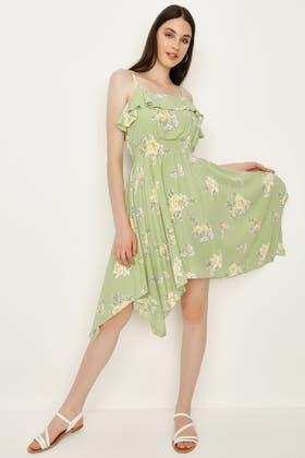 SPRING GREEN PASTEL FLORAL HANKY HEM DRESS