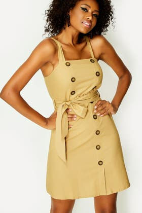 STONE BELTED BUTTON PINAFORE DRESS