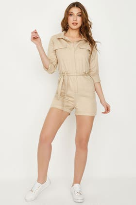STONE BELTED UTILITY PLAYSUIT