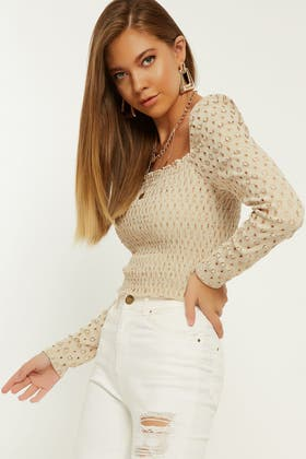 STONE BRODERIE SQUARE NECK SHIRRED PUFF SLEEVE TOP