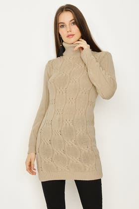 STONE CABLE ROLLNECK TUNIC