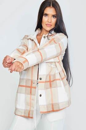 STONE Classic Thick Colour Block Checked Shirt Jacket Shacket