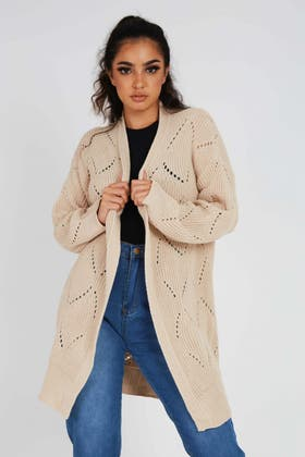 STONE Open Pointelle Front Cardigan