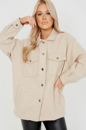 STONE Plain Classic Thick Shirt Jacket Shacket