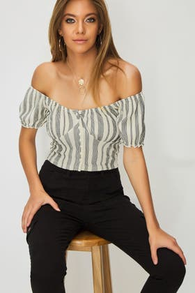 STONE STRIPE BUTTON FRONT PUFF SLEEVE TOP