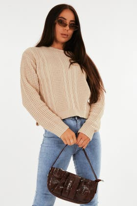 STONE Waffle Cable Stich Jumper
