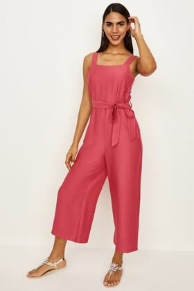 SUMMER SPICE PINNY TIE FRONT CULOTTE JUMPSUIT