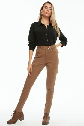 TAN BELTED UTILITY ZIP TROUSER