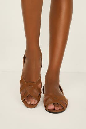 TAN MICROSUEDE CAGED FLAT