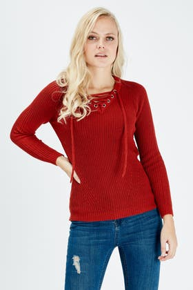 TERRACOTTA LACE FRONT JUMPER