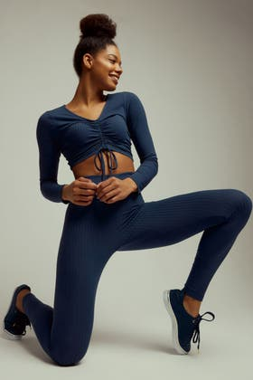 THUNDERSTORM RUCHED FRONT LONG SLEEVE AND RIBBED LEGGING SET